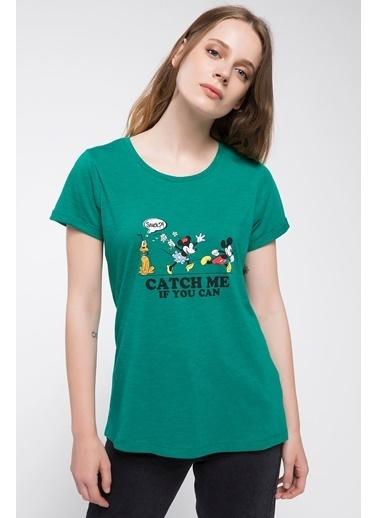 DeFacto Mickey Mouse Baskılı Lisanslı T-shirt Yeşil